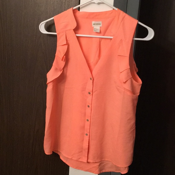 H&M Tops - H&M Coral tank top blouse with ruffles
